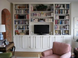 Shallow built in bookcase/storage