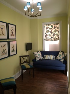 "Benjamin Moore (2027-50) ""Hibiscus"" den with teal and cobalt accents"