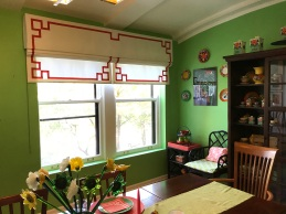 Custom Chinoiserie Roman Shades - designed to be pretty up or down! d